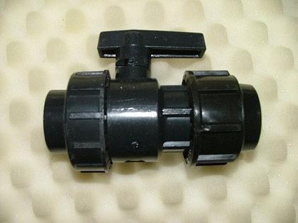 PVC-Kugelhahn mit 1 Überwurfmutter, IG, sowie PE-An