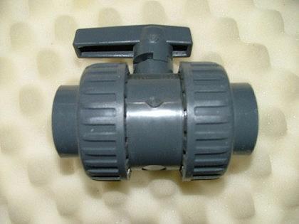 PVC-Industrie-Kugelhahn, 2x Überwurfm., 2x Klebem. - Vorschau 1