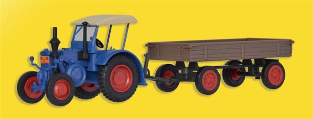 Kibri 12232 Lanz Traktor mit Gummiradwagen