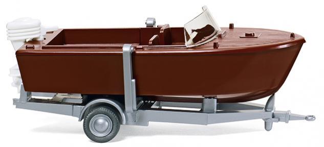 Wiking 009501 Motorboot auf Anhänger