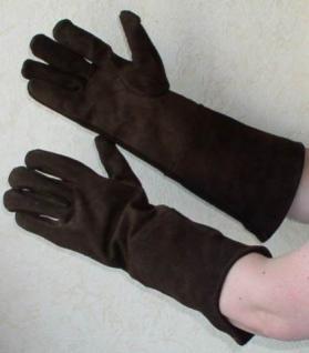 braune Wildlederhandschuhe für Damen