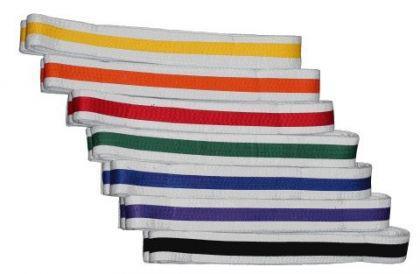 Budo Gürtel, weiß/orange/weiß - Vorschau 1
