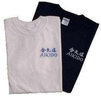 T-Shirt blau mit Bestickung Aikido