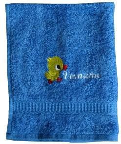 Handtuch aus Frottee mit Bestickung Ente und Ihrem Vornamen - Vorschau 1