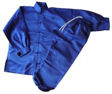 Kung Fu / Tai Chi Anzug Satin blau - Vorschau 2