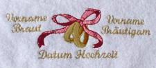 Handtuch aus Frottee mit Stickmotiv Ringe und Ihrem Namen und Hochzeitsdatum