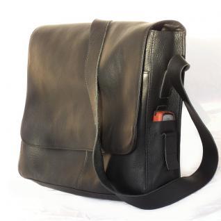 Jahn-Tasche - Elegante Laptoptasche / Notebooktasche bis 15 Zoll, aus Leder, Schwarz, Modell 448