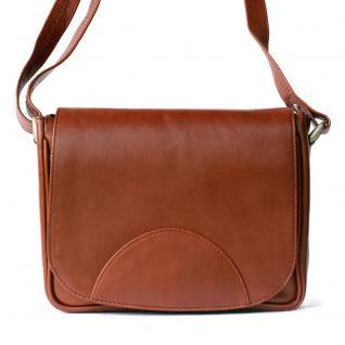 Hamosons - Kleine Damen Handtasche / Umhängetasche aus geöltem Leder, Kastanien-Braun, Modell 575