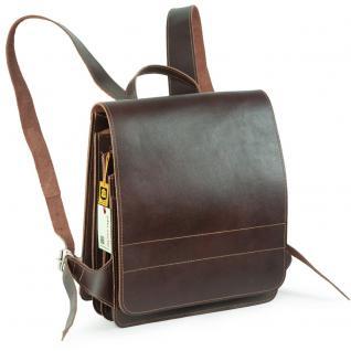 Jahn-Tasche - Mittel-Großer Lederrucksack / Lehrer-Rucksack Größe M aus Leder, Braun, Modell 668
