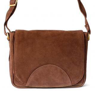 Hamosons - Kleine Damen Handtasche / Umhängetasche aus Büffel-Leder, Braun, Modell 575