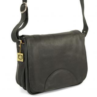 Hamosons - Damen-Handtasche Größe M / Umhängetasche im Retro-Look aus Nappa-Leder, Schwarz, Modell 577