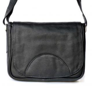 Hamosons - Kleine Damen Handtasche / Umhängetasche aus Nappa-Leder, Schwarz, Modell 575