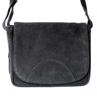 Hamosons - Kleine Damen Handtasche / Umhängetasche aus Büffel-Leder, Schwarz, Modell 575