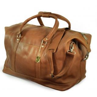 Jahn-Tasche - Große Reisetasche / Weekender aus Nappa-Leder, Cognac-Braun, Modell 697