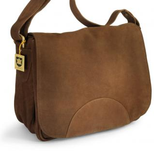 Hamosons - Damen-Handtasche Größe M / Umhängetasche im Retro-Look aus Büffel-Leder, Braun, Modell 577
