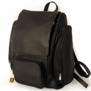 Jahn-Tasche - Großer Lederrucksack / Laptop Rucksack bis 15, 6 Zoll, Schwarz, Modell 709