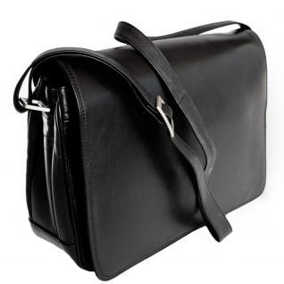 Branco - Damen-Handtasche Größe M / Umhängetasche aus Echt-Leder, Schwarz, Modell 5584