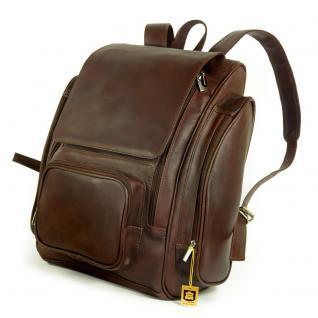 Jahn-Tasche - Großer Lederrucksack / Laptop Rucksack bis 15, 6 Zoll, Braun, Modell 709