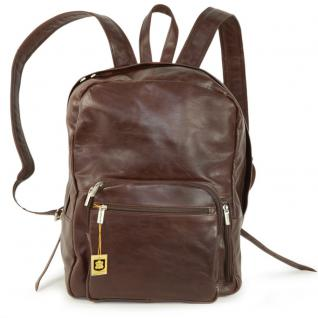 Hamosons - Großer Lederrucksack / Laptop Rucksack bis 15, 6 Zoll, aus geöltem Leder, Kastanien-Braun, Modell 514
