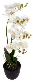 Künstliche Orchidee 3 Rispen weiß Kunstblumen Phalaenopsis Kunstpflanze 48, 5 cm