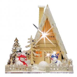 LED-Holzhaus mit Schneemännern Weihnachten Advent Weihnachtsdeko Weihnachtshaus