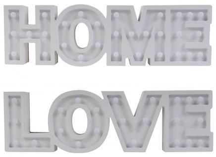 LED Schild ``Love/Home`` ca. 50x14, 5x3, 6 cm Leuchtreklame Leuchtschild Licht