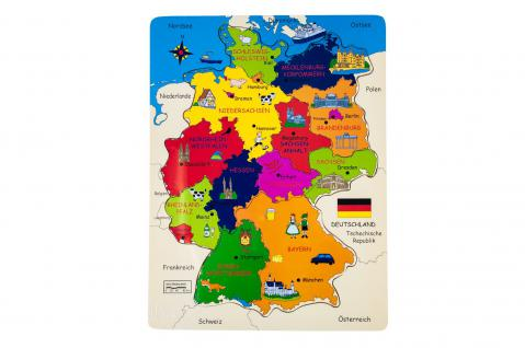Holzpuzzle Deutschland Kinderpuzzle Puzzlespiel Lernpuzzle Legepuzzle Lernspiel