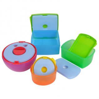 4 Lunchboxen mit Kühlakkus Brotdose Snackbox Kühlbox Frühstück Picknick Dosenset