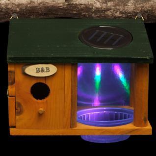 LED Solar Vogelhaus mit Wasserstelle Nistkasten Vogeltränke Garten Deko Leuchte