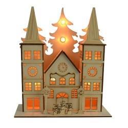 Holzkirche mit 10er LED Lichterkette