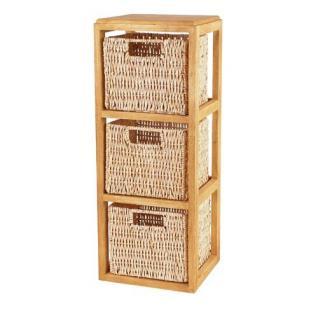 Holzregal mit 3 Aufbewahrungskörben Box Regal Holz Kiste Aufbewahrungbox Top Neu