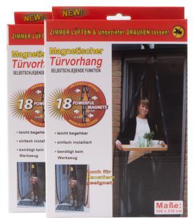 2 x Insektenschutz Tür 210 x 100 Türvorhang magnetisch Fliegengitter Anthrazit