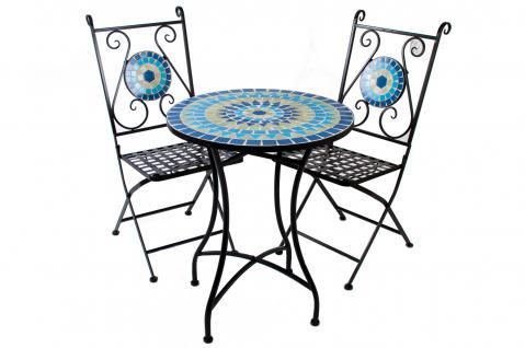 3er Set Mosaikstühle + Mosaiktisch MONACO