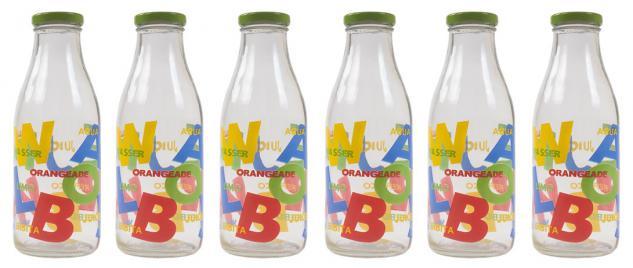 6 Milchflaschen a 500 ml Getränkeflaschen Glasflasche Saftflaschen Dekoflasche
