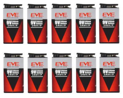 10er Pack EVE 9 Volt Lithium Block Batterie 10 Jahre für Rauchmelder Spielzeug