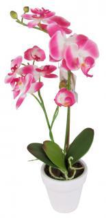 Künstliche Orchidee 2 Rispen Pink Kunstblumen Keramiktopf Kunstpflanze 45 cm