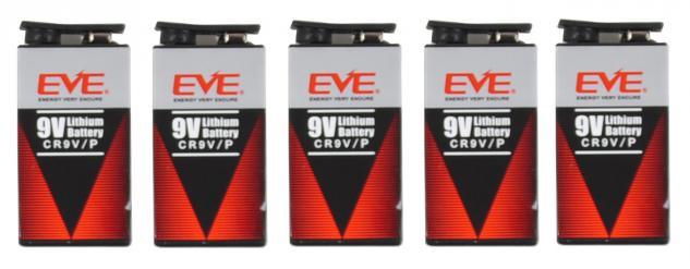 5er Pack EVE 9 Volt Lithium Block Batterie 10 Jahre für Rauchmelder Spielzeug
