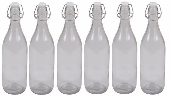 6x Drahtbügelflasche 950 ml Glas Flasche Bügelflaschen Bügelverschluß Saft Likör