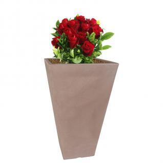 XXL Pflanztopf 40x40x70 cm Taupe Pflanzkübel Blumentopf Blumen-Kübel Pflanzgefäß