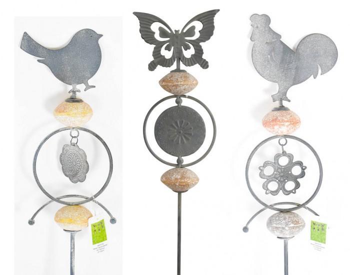Metall gartenstecker mit steinen kaufen bei for Gartenstecker metall