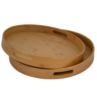 Bambus Tablettset 2er Frühstückstablett Serviertablett