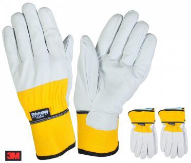 2 Paar Thermo-Arbeitshandschuhe Gr.9 Thinsulate Lederhandschuh Handschuh Montage
