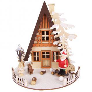 LED-Weihnachtshaus aus Holzhaus Weihnachten Advent Weihnachtsdeko Fensterdeko