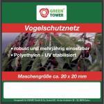 """Greentower GT Vogelschutznetz ,, Comfort"""" 25190 Vogelschutz- Netz 4x10 M"""