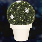 LED-Solar-Buchsbaumkugel Schneeflocke im Blumentopf 48cm Buxus Winterdeko Garten