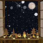 LED-Holzdeko Winterlandschaft Tannenzweig Zapfen Weihnachtskugeln Dekoration