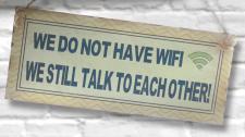 """SCHILD ,, No WIFI - We still talk..."""" 30x13cm Meta No"""