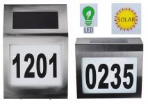 Design-Solar-Hausnummer mit LED-Beleuchtung Edelstahl Glas Hausnummernleuchte