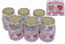 6er Set Einmachglas 1L Country Love mit Deckel Einwecken Abfüllen Gläser Design