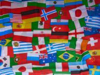 """Dekostoff """" Nationen-Mix"""" 300x150 cm Flaggen Fussball Stehtisch-Husse Tischdecke"""
